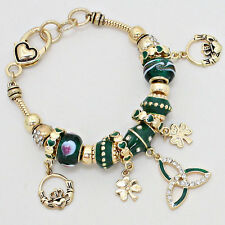Claddagh Bracelet Charm Sliding Bead Clover Irish St Patricks GOLD GREEN Heart