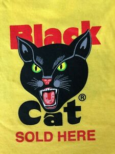Black-Cat-Fireworks-Sold-Here-STAFF-Yellow-Men-039-s-Large-T-Shirt