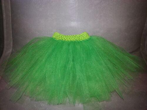 Children/'s Girl Tutu Skirt Tinkerbell Elf Christmas Tree Green Age 0-10 Years