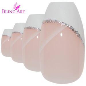 False-Nails-White-Polished-Ballerina-Coffin-Bling-Art-Fake-Nail-Tips-2g-Glue