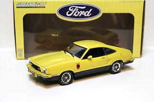 1-18-Greenlight-Ford-Mustang-II-Stallion-1976-YELLOW-NEW-in-Premium-MODELCARS