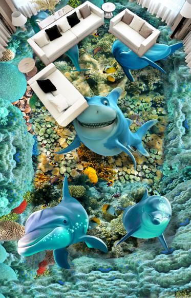 3D Funny Dolphins 532 Floor WallPaper Murals Wall Print 5D AJ WALLPAPER UK Lemon