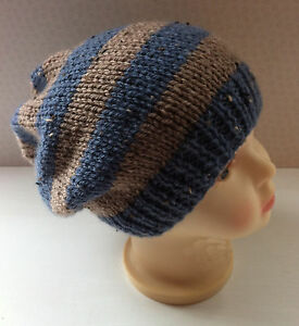 6aa656aed7d Hand Knit Childs Striped Beanie Hat - 7-8 Years - Blue   Beige ...