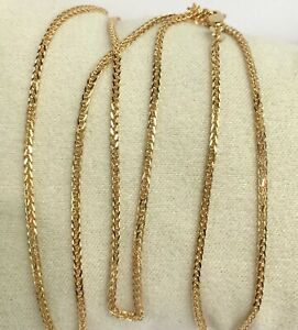 18k-Solid-Gold-Italian-Wheat-Chain-Necklace-Dimond-Cut-20-4-50-Grams