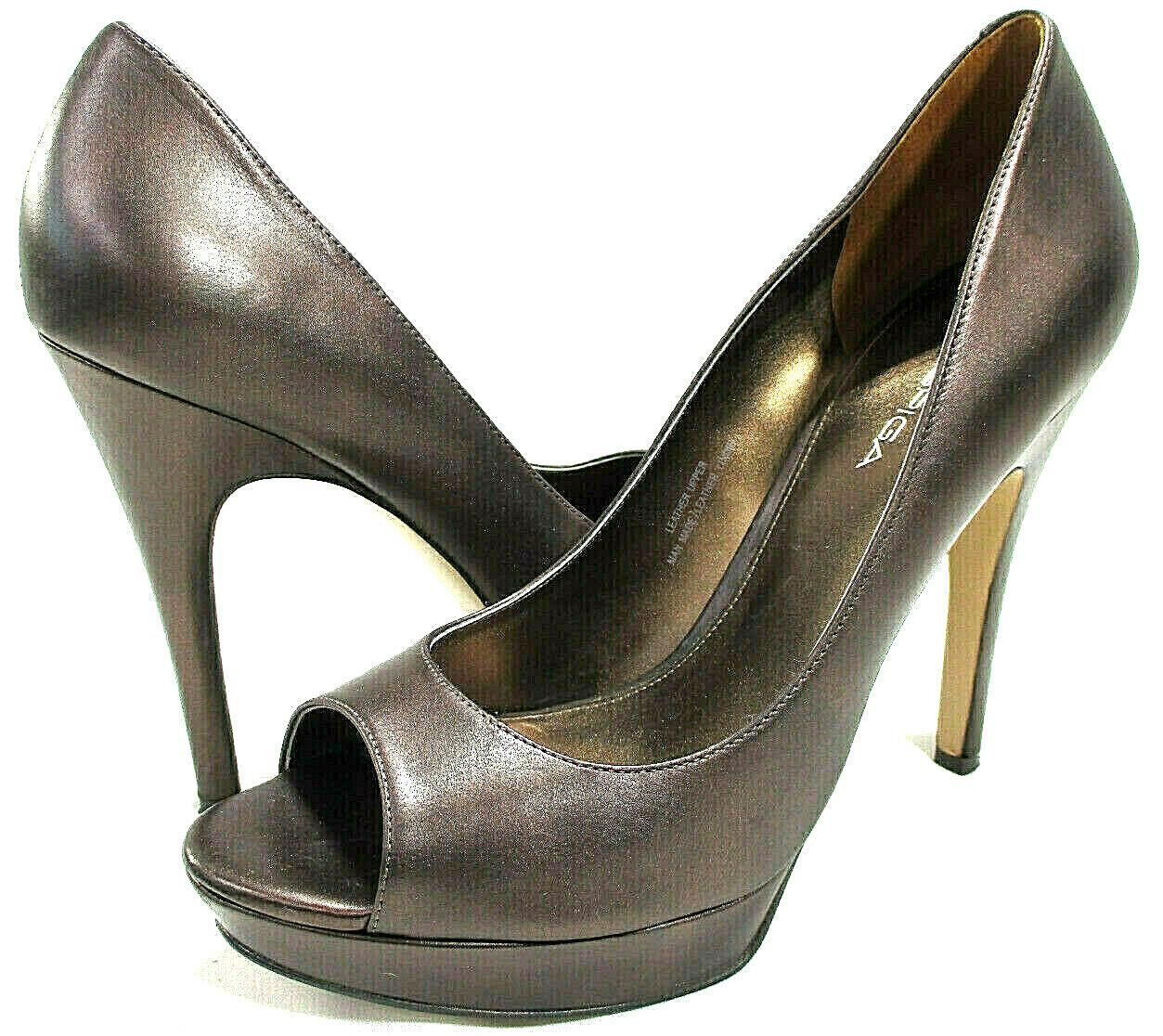 VIA SPIGA Copper Metallic Leather Peep Toe Platform Pumps  325  Women's Sz 9.5 M