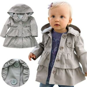 94a0f3462 Toddler Kids Baby Girls Winter Warm Trench Wind Coat Hooded ...