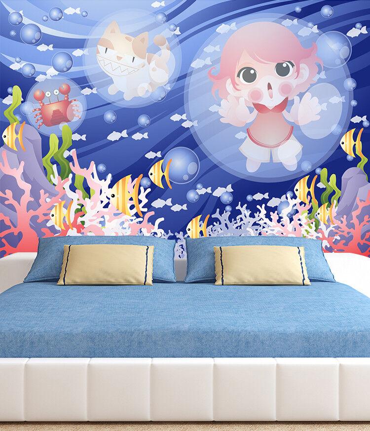 3D Anime Girl Cat Wallpaper Murals Wall Print Wallpaper Mural AJ WALL AU Lemon
