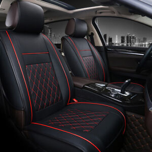 Universal-PU-Leather-Car-Seat-Covers-Cushions-Front-Stitching-Black-with-Red-UK