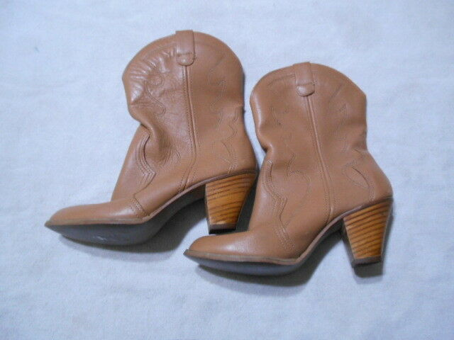 Vintage Kinney shoes Leather Boots 8 Brown Boho 70s Hippie Hippie Hippie Stack High Heel 55075b