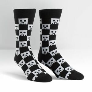d67ffb7aac58 Details about Plus Size or Men s Black and White Checkered Skull Wide Curvy  Crew Socks