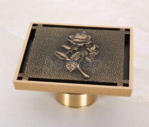 Antique-Brass-Carved-Floor-Drain-4-034-Square-Washer-Shower-Waste-Drainer-shr044