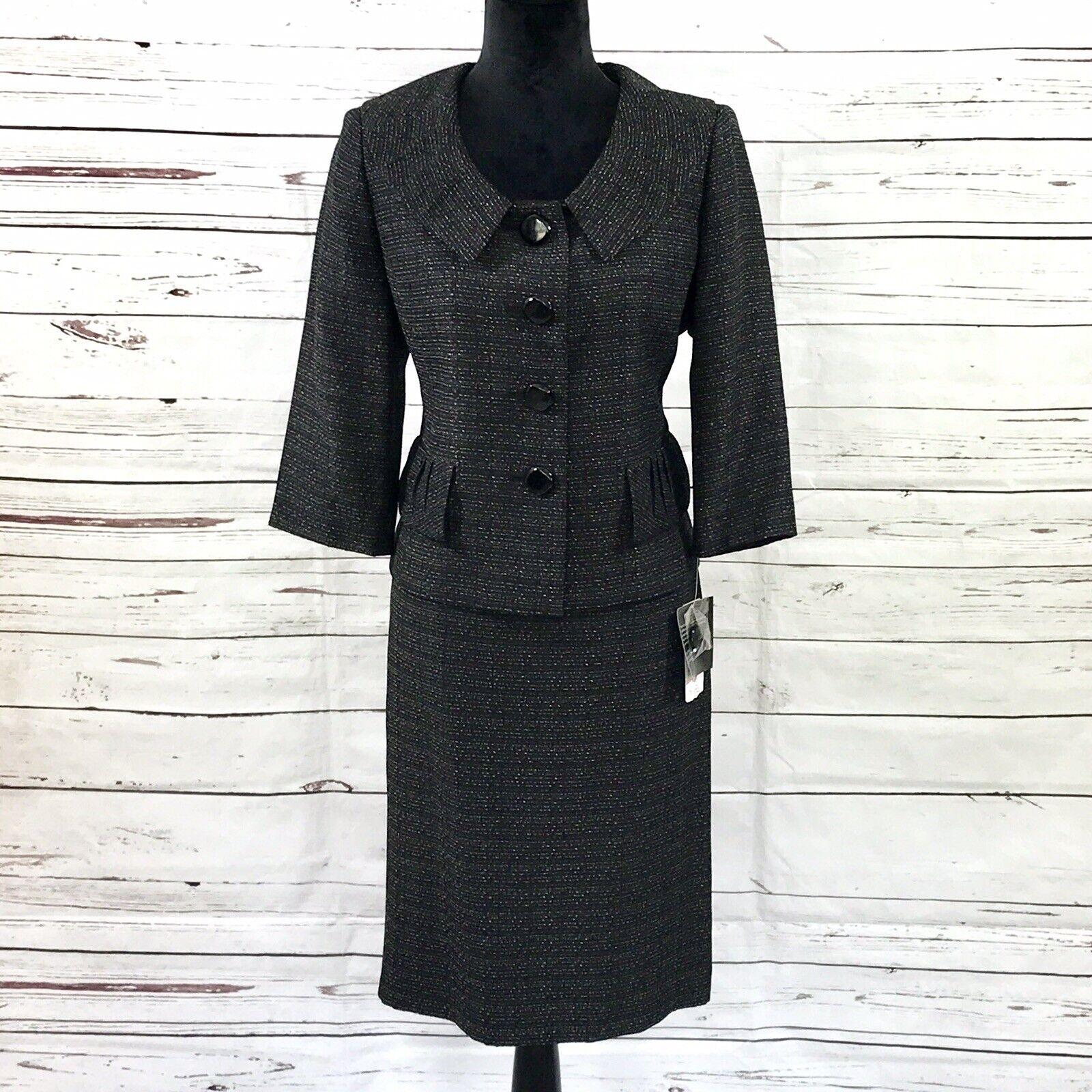 Le Suit Petite Femme 2 Pièces Jupe Suit noir or tweed taille 10P Neuf avec étiquettes 200