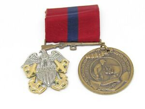 Korean - Vietnam War Sterling Navy Officer Cap Badge, Good Conduct Medal