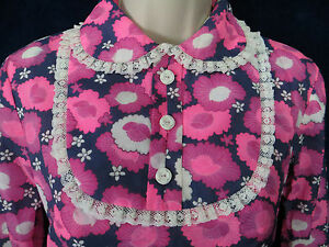 60-039-s-Vintage-Hot-Pink-Navy-Psychedelic-Floral-Long-Maxi-Hippie-Dress-Shirt-Set-S