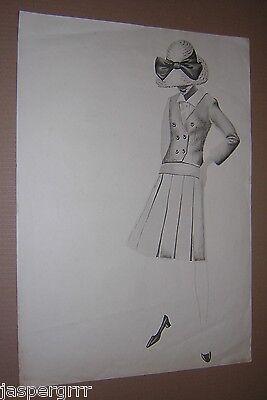 C1960. Opera D'arte Originale Moda Donna. Vestito B&w Acquerello Di Design. Vintage.-mostra Il Titolo Originale Guidare Un Commercio Ruggente