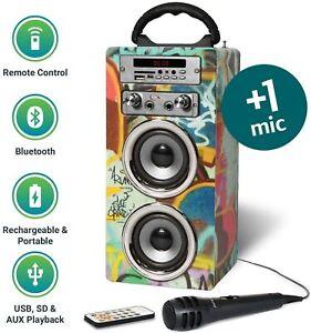Portable-Bluetooth-Speaker-with-Karaoke-Machine-Microphone-FM-Radio-Powerful-New