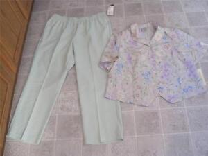 7781105baf1b6 Details about NEW NWT ALLISON DALEY misses plus 18W light green pants &  floral top set lot j66