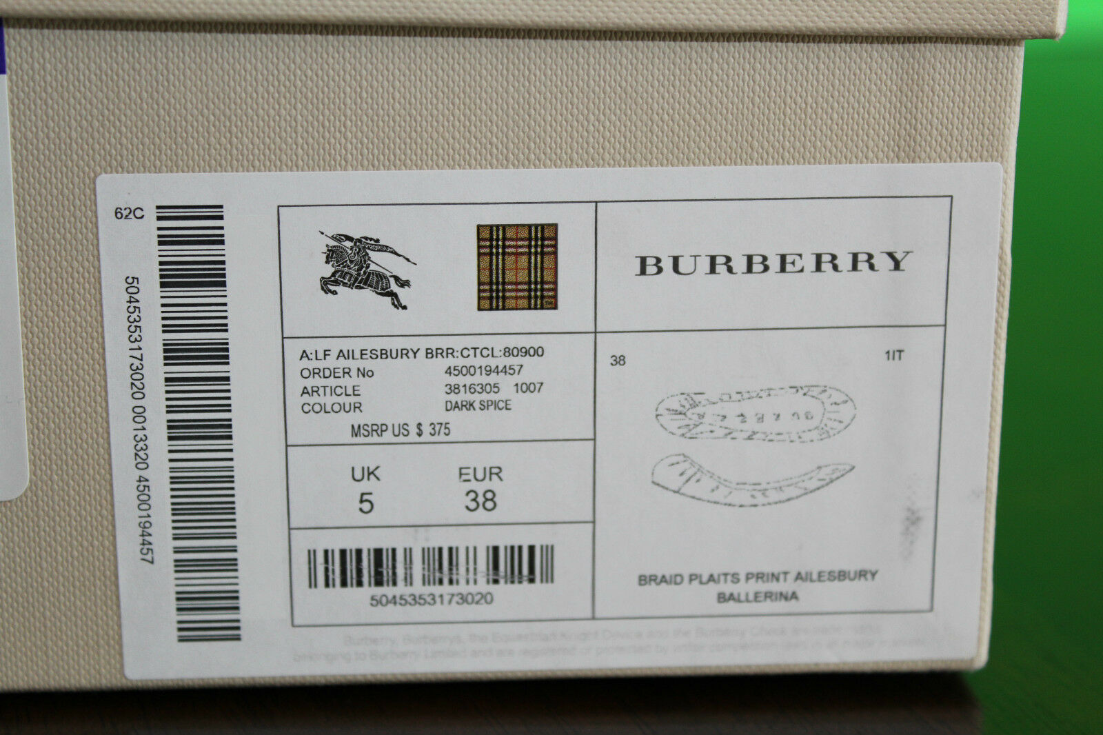 BURBERRY ECLECTIC PRINT CANVAS BALLERINA DARK DARK DARK SPICE  8us  379 5b692a