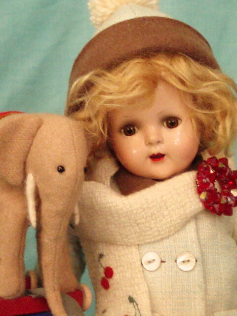 HAZEL TWIGG No. 114 Christmas CHERRY & WILLS Vintage Composition Doll & ELEPHANT
