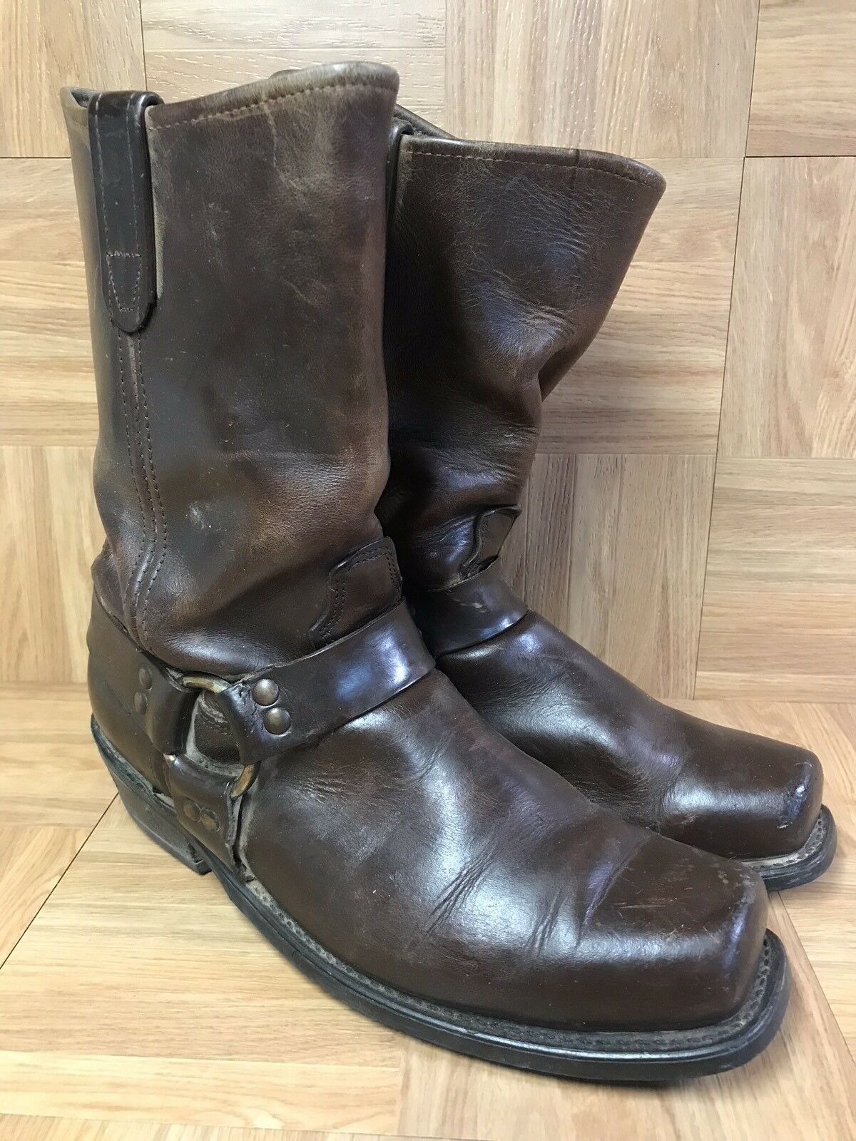 Vintage Biltrite Cowboy Biker Rough Tall Brown Leather Boots Sz 11 Men's Boots