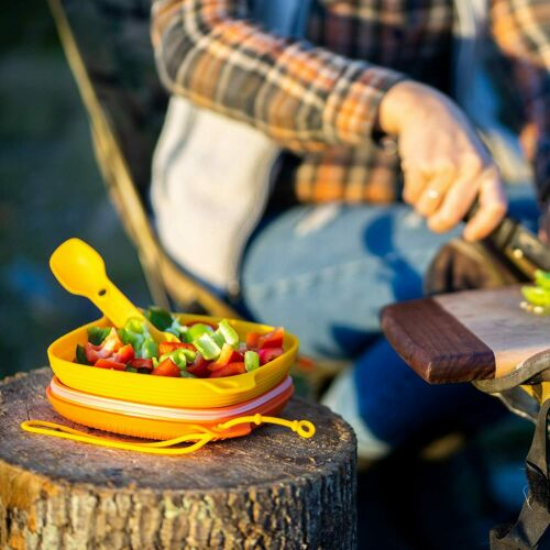 Details about  /Camping Hiking Cookware Uco 4-Piece Mess Kit With Bowl Plate 3-In-1 Spork Utensi