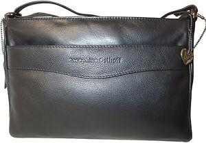 Details zu Designer Ledertasche FLORENZ Schwarz Tasche Schultertasche Umhängetasche
