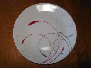 Image is loading Corelle-SPLENDOR-Set-of-7-Round-Dinner-Plates- & Corelle SPLENDOR Set of 7 Round Dinner Plates White w Grey Red ...