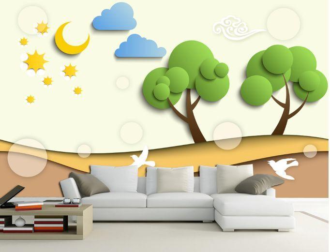 3D Alberi, nuvole Parete Murale Foto Carta da parati immagine sfondo muro stampa