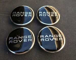 Set of 4 63mm Land Rover Range Rover Wheel Emblem Center Hub Caps Black on Black
