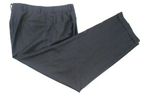 Oxxford-Clothes-Gray-Blue-Pinstripe-Wool-Pleated-Dress-Pants-Men-s-38W
