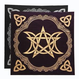 Triple Moon Pentagram Altar Tarot Cloth Decor Divination Cards Wicca Velveteen