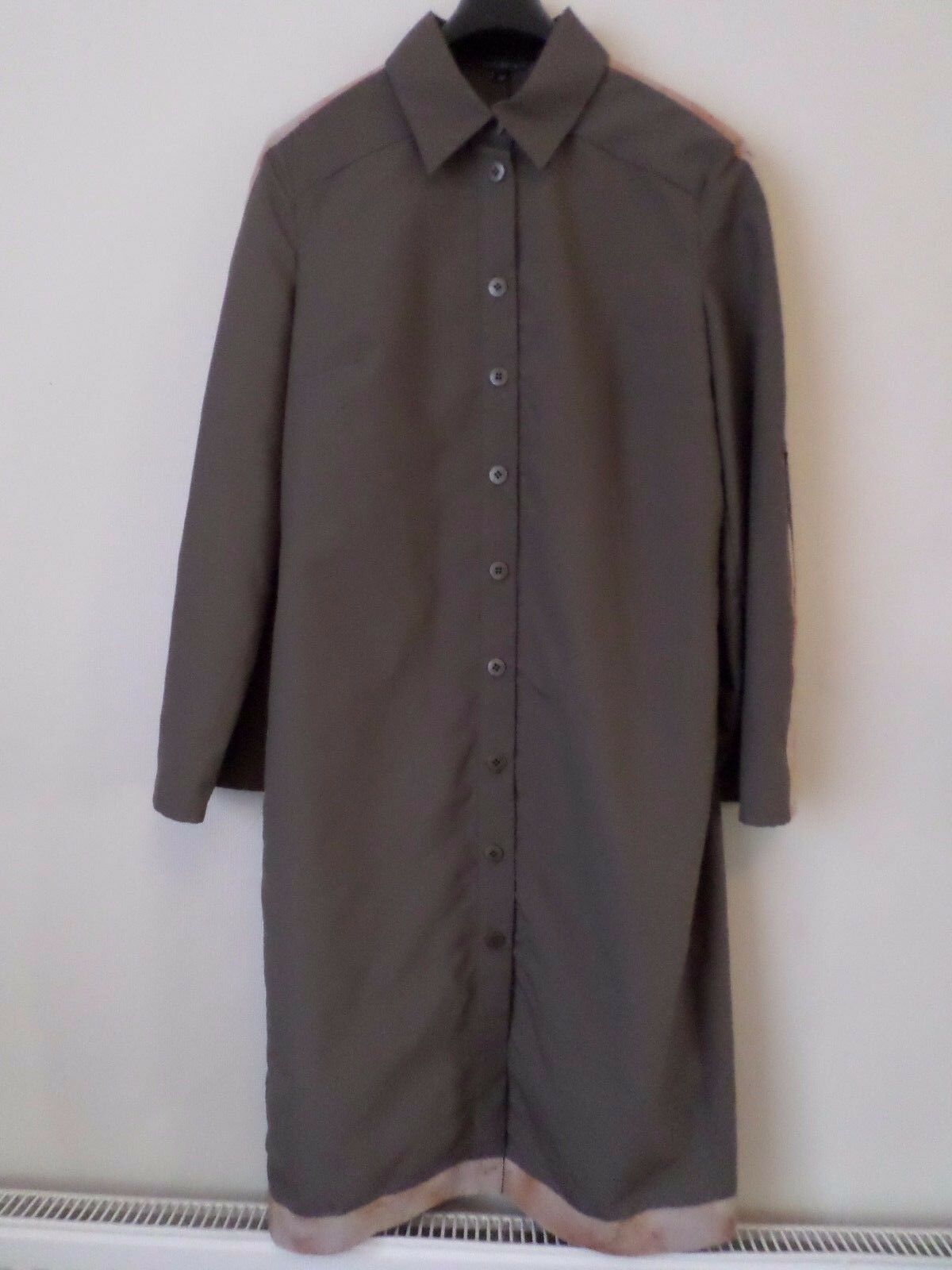 New Designer Nicole Coste Khaki Brown Shirt Coat Dress Size  RRP