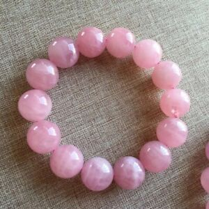 Natural-Rose-Quartz-Pink-Crystal-Woman-Round-Beads-Fashion-Bracelet-15mm-AAAA