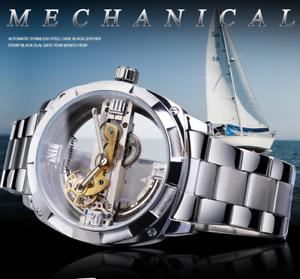Herren-Schwungrad-Skelett-offene-Ausstellung-Manuelle-Mechanische-Armbanduhr-Silber-Gold