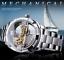 Herren-Schwungrad-Skelett-offene-Ausstellung-Manuelle-Mechanische-Armbanduhr-Silber-Gold Indexbild 1