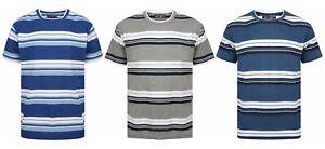 Camiseta-Para-Hombre-A-Rayas-Vacaciones-De-Verano-Playa-Casual-grueso-cuello-en-V-Nuevo-Ex-Tienda