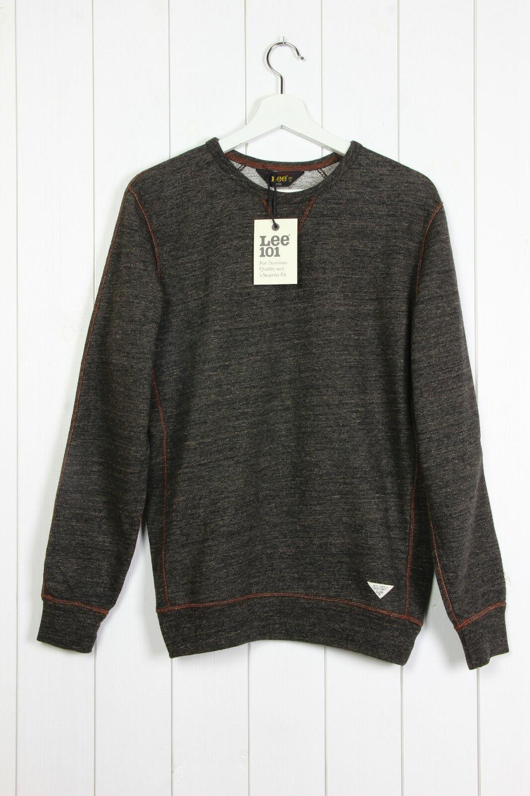 NEU Lee 101 Premium Rundhals Sweatshirt Pulli Langarm braun / M/L/XL/XXL