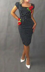 rockabilly-1950s-pin-up-wiggle-dress-with-3D-large-red-roses-polka-dot-print