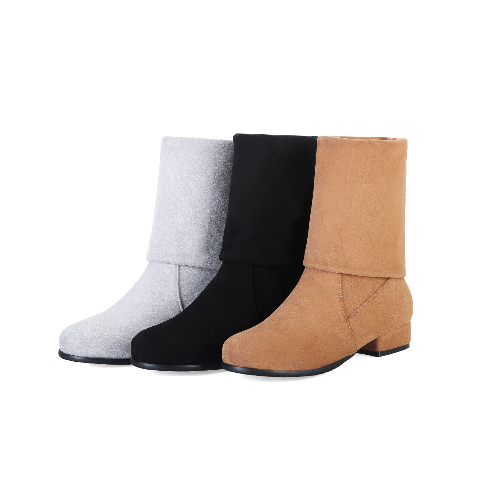 Women's Cuban Heel Mid Calf Boots Suede Fabric Round Toe Plus Size shoes