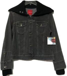 Gloria Vanderbilt Womens Black Denim Button Jean Jacket Size Medium New