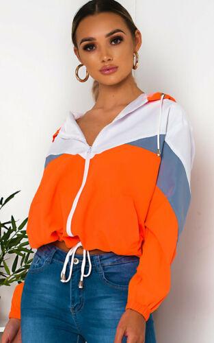 Womens Sav Neon Sports Shell Hooded Bomber Jacket Ladies Lightweight Summer Coat