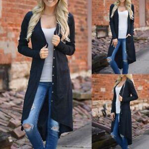 Women-Mid-Length-Drape-Open-Front-Asymmetrical-Pockets-Cardigan-Loose-Drape-Coat