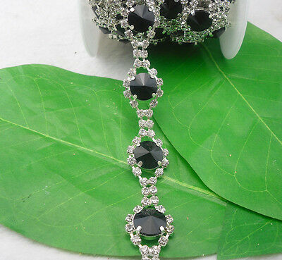 14mm Mix glass crystal rhinestone close silverclaw cup trim chain Applique 1Yard
