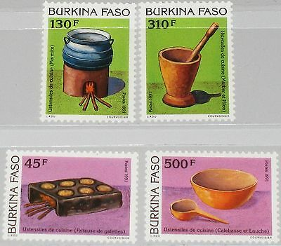 Burkina Faso 1992 1264-67 935-38 Cooking Utensiles Küchengeräte Kochen Mnh üBerlegene In QualitäT