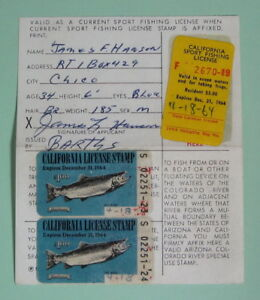 Details about 1964 California Dept of Fish & Game Resident Angling Fishing  License w/ Stamps
