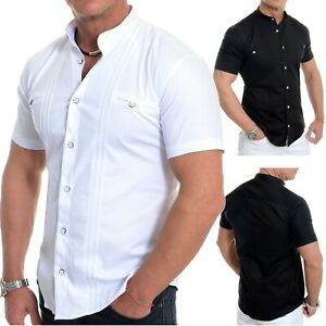 Hombre Henley Camisa Manga Corta Elegante Cuello Mao Loops Algodón Blanco Negro