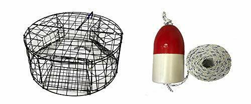 KUFA (CT110+FYM100) Vinyl Coated Round Crab Trap with Float and Rope Combo