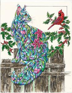 WINTER-FRIENDS-Cat-with-Cardinal-11x14-Original-Art-Painting-Sherry-Shipley