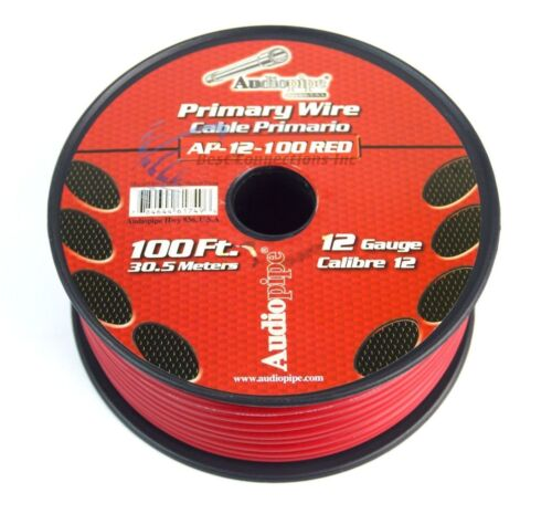 6 ROLLS 12 GA GAUGE 100 FT SPOOLS PRIMARY AUTO REMOTE POWER GROUND WIRE CABLE