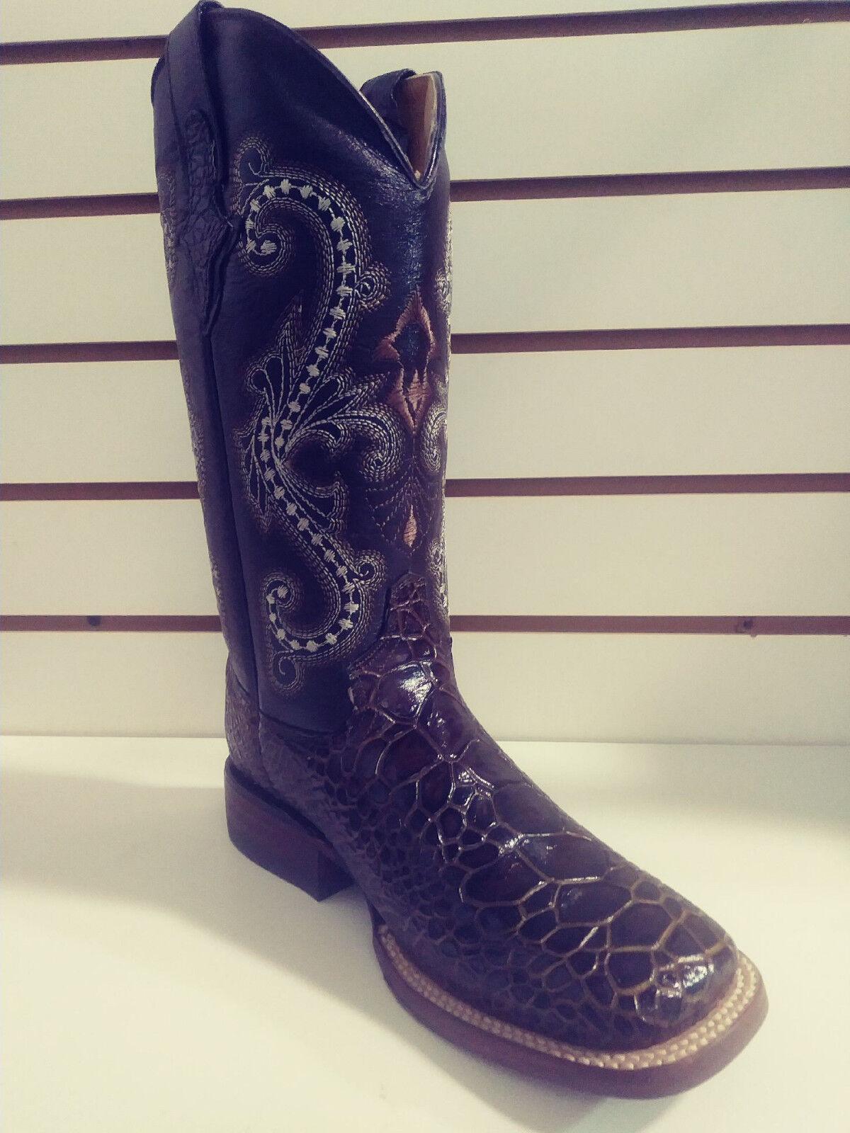 New Ferrini Womens Leather Cowboy Cowboy Cowboy Western Print Sea Turtle Boot bluee Sq Toe 6 a0b421